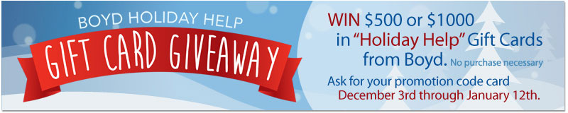 Boyd Selkirk Holiday Help Gift Card Giveaway Contest